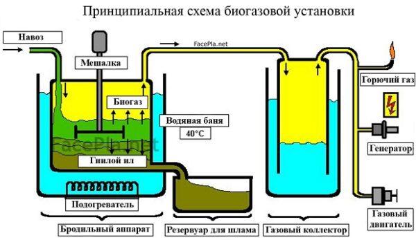 Diagramma di un reattore di biogas